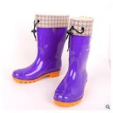中美牌雨鞋女式中筒加棉皮口雨鞋 防滑耐磨平跟防滑加厚雨靴