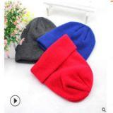秋冬针织保暖帽 单色绣花定做针织帽子 礼品促销保暖帽厂家定做