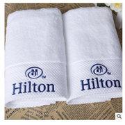 厂家直销 纯棉白色平织 绣花 方巾面巾浴巾套装 酒店毛巾