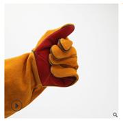 双层牛皮手套 内里加厚绒布劳保手套手部长款防护手套