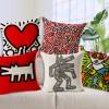 凯斯哈林Keith Haring名画现代创意简约北欧棉麻沙发靠垫抱枕靠枕