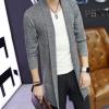 春秋男式针织衫 韩版修身青年休闲男士毛衣男装中长款披风衣外套