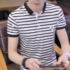 95棉夏季新款男式T恤短袖翻领POLO衫男韩版修身条纹半袖男装批发