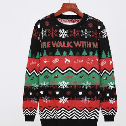 2019 欧美 圣诞 秋冬 新款 毛衣圣诞花毛衣 套头提花针织衫