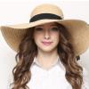 新款太阳帽女夏遮阳帽时尚优雅拉菲草帽子沙滩帽可折叠大沿防晒帽