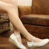 福尔康厂家供应新款613白色头层牛皮坡跟牛筋底护士鞋