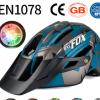 BATFOX/蝠狸自行车头盔山地车一体成型骑行头盔带警示灯安全头盔