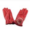 秋冬季女款户外骑车防冻手套绒里保暖全指手套兔毛球皮革长指手套
