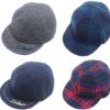 韩版儿童帽子 cocoinkids品牌呢料格子正反两戴款鸭舌帽