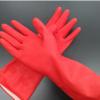 红色乳胶橡胶手套绒里耐酸碱洗衣碗清洁厨房防水家务双层工业浸绒