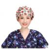 跨境/纯棉手术帽女手术室防护帽子医生护士帽包头巾印花帽蓬蓬帽