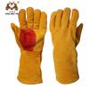 加厚款耐磨焊工牛皮手套 防烫隔热全牛皮棕色焊接手套电焊手套