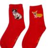 元昊本命年红色袜子狗年旺旺系列圆头棉袜厂家定做批发袜子