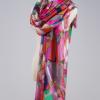 2017新款羊毛围巾女冬季春秋 加大加密80支喷绘羊毛围巾披肩两用