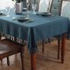 新款纯色美式乡村素色方形桌布茶几布高级简约西餐布ins流苏台布
