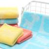 竹纤维+纯棉提花格子卡通熊头儿童毛巾洗脸面巾25*50毛巾批发