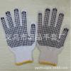 棉纱本白PVC点胶点塑手套 漂白黑点防滑劳保针织手套