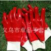 罗口PVC手套 针织棉毛布里红色光面全浸手套