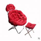 新款灯芯绒家居折叠椅办公休闲躺椅月亮椅带脚凳靠背椅货源批发