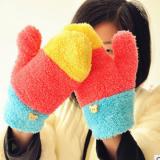 地滩货源 韩版时尚女生冬天保暖彩虹手套 毛绒拼接色并指加厚D001