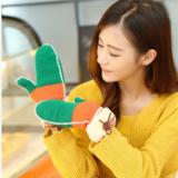 新款韩版冬季保暖加厚毛线手套 彩虹纽扣全指手套批发D013