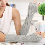 秋冬季淑女毛线针织菱形袖套半指长款30cm保暖露指手套20cm手套