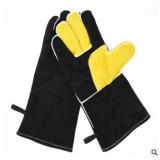 供应牛皮隔热焊接电焊防护手套二层皮双层加长加厚黑色劳保手套