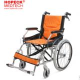 AUFU佛山东方老人残疾人轮椅铝合金折叠便携小型助行手推车轮椅