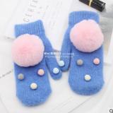 新款针织兔毛全指手套女冬季 学生加厚加绒保暖球球手套骑行手套