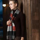旭亚 围巾女冬季羊毛围巾格子秋冬经典格子女士百搭款保暖围脖女