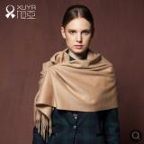 旭亚 内蒙纯羊绒披肩围巾两用 欧美时尚纯色百搭围巾女冬季
