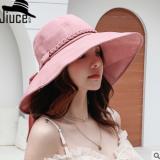 布帽女士夏天新款麻花飘带蝴蝶结遮阳帽户外防紫外线可折叠大沿帽