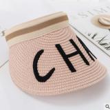 日系新款字母刺绣CHA时尚百搭草帽子女韩国新款发箍网红空顶帽子