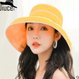 日系chic新款时尚百搭大檐遮阳渔夫帽子女韩版文艺可折叠包边布帽