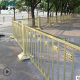 金黄铁艺隔离护栏 市政交通防护隔离栅 公路交通金色莲花工艺围栏
