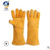工人劳保手套工业耐高温电焊手套牛皮手套 长款防护手套厂家