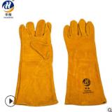 厂家供应 黄色电焊手套 耐高温隔热双层里衬电焊手套