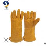 厂家批发双层加厚电焊手套 焊工牛二层皮劳保工作手套 耐油耐磨损