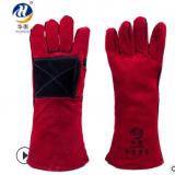 加长电焊手套 牛皮焊接防护手套耐磨劳保手套隔热工人手套批发