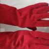 双层加长加厚耐磨防飞溅焊工手套工厂直销全牛皮14寸红色电焊手套