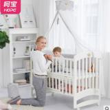 婴儿床实木欧式多功能宝宝儿童摇篮新生儿可调节拼接大床带滚轮白