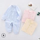 婴儿连体衣纯棉睡衣儿童夏季长袖空调服宝宝爬服初生哈衣2020新款