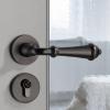 美式门锁复古黑色分体室内卧室房门锁木门锁具现代简约静音门把手