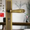 新中式门锁室内卧室房门锁磁吸静音门锁家用实木门锁具复古门把手