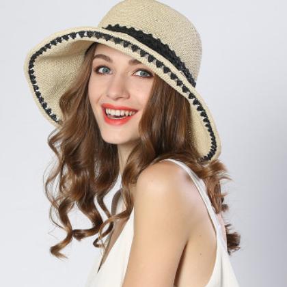 夏季手工钩针草帽子女士大沿拼色镂空遮阳帽可折叠防晒太阳沙滩帽