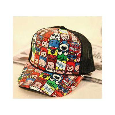 印花鸭舌帽,韩版网帽,卡通网帽,韩版卡通网帽,奶嘴鸭舌帽,2014夏?