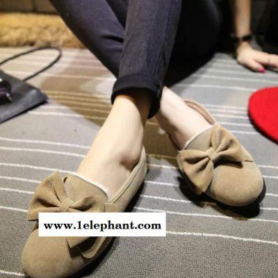 韩版甜美蝴蝶结可爱圆头平底鞋平跟单鞋套脚懒人低帮鞋驾车学生鞋
