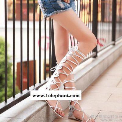 女鞋招代理/欧美潮鞋个性凉鞋套趾细带脚环绑带拉链高筒凉靴