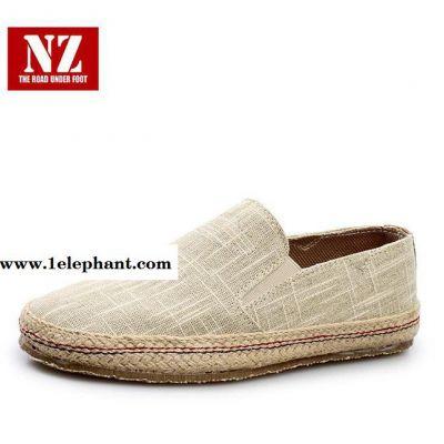 新品休闲男鞋套脚板鞋麻面学生鞋平底时尚透气款N329