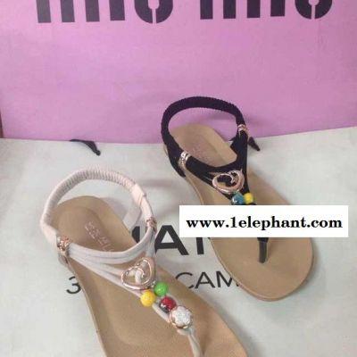 2015 时尚罗马凉鞋 平底沙滩女凉鞋子 珍珠水钻凉鞋套脚趾